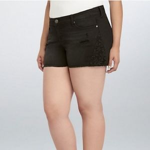 TORRID Black Distressed Embroidered Denim Shorts